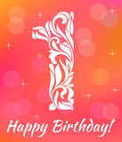 Bright Greeting card Invitation Template. Celebrating 1 years birthday. Decorative Font. With swirls and floral elements Stock Photography