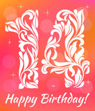 Bright Greeting card Invitation Template. Celebrating 14 years birthday. Decorative Font. With swirls and floral elements vector illustration
