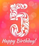 Bright Greeting card Invitation Template. Celebrating 5 years birthday. Decorative Font vector illustration