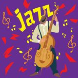 Bright greeting card. Poster of jazz music. Man plays a Contrabass. Vector illustration. Vector Illustration