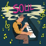 Bright greeting card. Man plays a piano with text `Soul`. Vector illustration poster. Vector Illustration