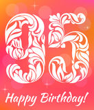Bright Greeting card Template. Celebrating 95 years birthday. Decorative Fon Stock Images