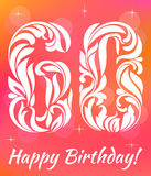 Bright Greeting card Template. Celebrating 60 years birthday. Decorative Font. With swirls and floral elements Royalty Free Stock Images