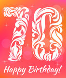 Bright Greeting card Template. Celebrating 70 years birthday. Decorative Font. With swirls and floral elements stock illustration