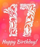 Bright Greeting card Template. Celebrating 17 years birthday. Decorative Font with swirls and floral elements vector illustration