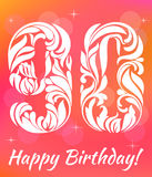 Bright Greeting card Template. Celebrating 90 years birthday. Decorative Font. With swirls and floral elements Royalty Free Stock Photo