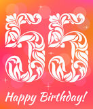 Bright Greeting card Template. Celebrating 55 years birthday. Decorative Font. With swirls and floral elements stock illustration