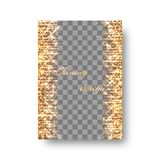 Bright greeting card template with gold sparkles. New Year invitation template with light flashes, flying sparkles and golden stars Royalty Free Stock Photo