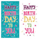 Bright greeting card with text Happy birthday to you on blue and white backgrounds. Party invitation, hand drawn style. Colorful templates Royalty Free Stock Image