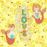 Bright greeting card for Valentine's day. Greeting bright card for Valentine's day. cute smiling boy with a girl mermaid with hearts in hands in a cartoon style Royalty Free Stock Photography
