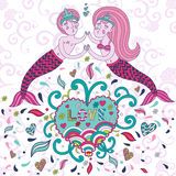 Bright greeting card for Valentine's day. Kissing cute boy with a girl mermaid in a cartoon style. inscription love heart. Doodle Stock Images