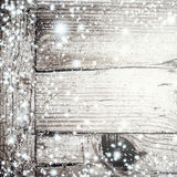 Bright Grey wood texture with white snow and stars in vintage st Stock Photo
