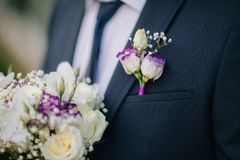 Bright groom boutonniere with bouquet Royalty Free Stock Images