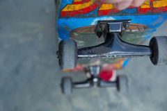 Bright grunge skate board close up Royalty Free Stock Photography