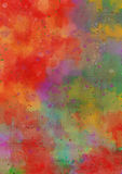 Bright, Grungy, Textured, Watercolour Background. A bright multi coloured, grungy, textured watercolour background. Completed with watermarks splatters, grain Stock Photography