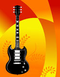 Bright guitar background. A grunge illustrated background with a guitar in bright orange and yellow colors Royalty Free Stock Image