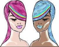 Bright hair models beauty girls vector illustration Royalty Free Stock Photos