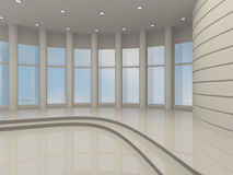 Bright hall with large windows, 3D Royalty Free Stock Images