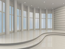 Bright hall with large windows, 3D Stock Image
