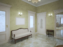 Bright hall with mahogany furniture. In luxury private house. 3D render Royalty Free Stock Images