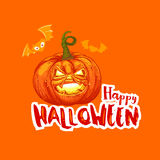 Bright Halloween card with pumpkin and bat Royalty Free Stock Photography
