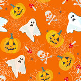 Bright halloween pattern. Vector seamless pattern for Halloween with ghosts and pumkins Stock Photography