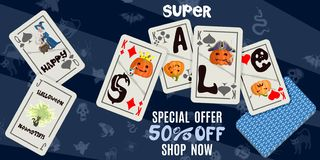 Bright Halloween poster with playing cards on a dark background royalty free illustration