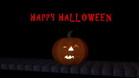 Bright halloween pumpkin. With the text `Happy Halloween` on black background. 3d illustration vector illustration