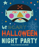 Bright Halloween trick or treat card Stock Image