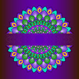 Bright hand-drawing ornamental abstract lace round with many details  on deep purple background Royalty Free Stock Images