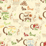 Bright hand drawing seamless texture with cute teapots, cups, cake, fresh steam and design elements for tea time. Cup, mug, teapot Stock Image