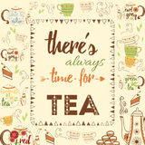 Bright hand drawing seamless texture with cute teapots, cups, cake, fresh steam and design elements for tea time. Cup, mug, teapot Royalty Free Stock Images