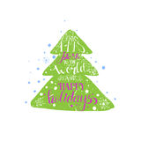 Bright hand drawn grunge style Christmas tree Royalty Free Stock Images
