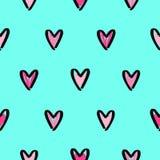 Bright hand drawn hearts background. Royalty Free Stock Photos