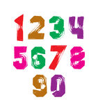 Bright hand painted daub numerals, collection of acrylic realist. Ic digits with brushstrokes Stock Image
