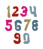 Bright hand painted daub numerals, collection of acrylic realist. Ic digits with brushstrokes Royalty Free Stock Images
