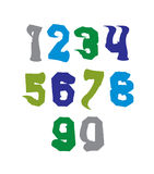 Bright hand painted daub numerals, collection. Of acrylic undulate realistic digits with brushstrokes Royalty Free Stock Photos