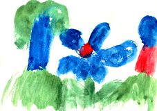 Bright handdrawn watercolor blue big abstract childs flower and tree in the fores. T on a white background royalty free illustration