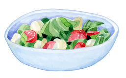 Bright handmade bowl with a colorful salad - Royalty Free Stock Photo
