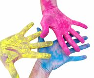 Bright hands. Different colors. Palette of colors royalty free stock photography