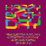 Bright Happy birthday greeting card. Vector set of colorful letters, numbers and symbols Royalty Free Stock Photos
