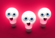 Bright happy creativity bulbs Royalty Free Stock Photo