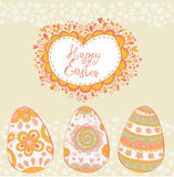 Bright happy easter card in vector. Easter eggs in cute cartoon style. Royalty Free Stock Photography