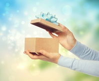 Bright and Happy Gift Box Presentation Royalty Free Stock Photos