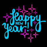 Bright HAPPY NEW YEAR hand lettering VECTOR Royalty Free Stock Photography