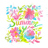 Bright and happy summer lettering design drawn with watercolors. Royalty Free Stock Photo
