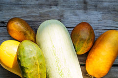 Bright harvest. On a wooden table Royalty Free Stock Image