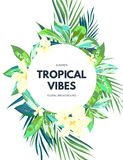 Bright hawaiian design with tropical plants and hibiscus flowers Stock Image