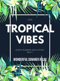 Bright hawaiian design with tropical plants and hibiscus flowers Stock Images