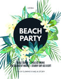 Bright hawaiian design with tropical plants and hibiscus flowers Royalty Free Stock Photography